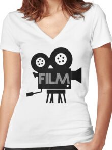 FILM - CAMERA Women's Fitted V-Neck T-Shirt