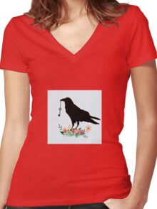 Crow and the key Women's Fitted V-Neck T-Shirt