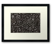 Coffee outline seamless pattern Framed Print