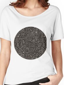 Coffee outline seamless pattern Women's Relaxed Fit T-Shirt