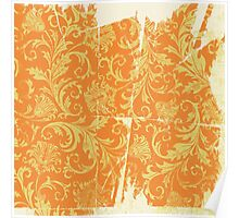 Vintage Decor Pattern: Orange and Yellow on Shabby White Poster
