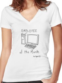 Employee of the Month Women's Fitted V-Neck T-Shirt