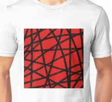 Red Lines on Black Unisex T-Shirt