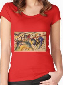 Kandinsky -  Painting With White Border Women's Fitted Scoop T-Shirt