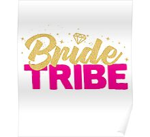 Bride Tribe Gold Foil Hot Pink Bridal Bridesmaid Sparkly Bling Wedding Bachelorette Party Hens Night Favors Gifts Poster