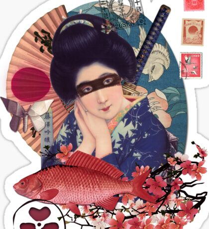 Collage Geisha Samurai in Coral, Indigo and Marsala Sticker