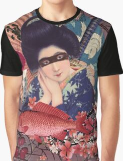 Collage Geisha Samurai in Coral, Indigo and Marsala Graphic T-Shirt