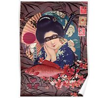 Collage Geisha Samurai in Coral, Indigo and Marsala Poster