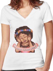 Melanin Flower Child Women's Fitted V-Neck T-Shirt