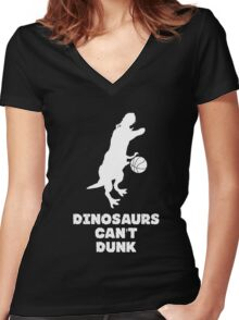 Dinosaurs Can't Dunk Women's Fitted V-Neck T-Shirt