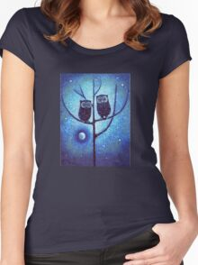 Owls On Menorah Tree Women's Fitted Scoop T-Shirt