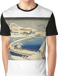 Vintage famous art - Hokusai Katsushika - Pontoon Bridge At Sano, Kozuke Province, Ancient View Graphic T-Shirt