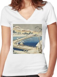 Vintage famous art - Hokusai Katsushika - Pontoon Bridge At Sano, Kozuke Province, Ancient View Women's Fitted V-Neck T-Shirt