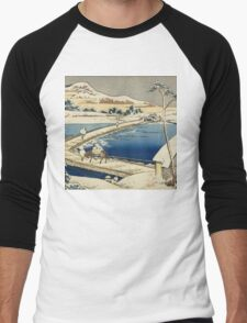Vintage famous art - Hokusai Katsushika - Pontoon Bridge At Sano, Kozuke Province, Ancient View Men's Baseball ¾ T-Shirt