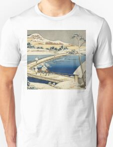 Vintage famous art - Hokusai Katsushika - Pontoon Bridge At Sano, Kozuke Province, Ancient View Unisex T-Shirt