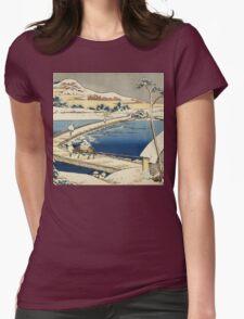 Vintage famous art - Hokusai Katsushika - Pontoon Bridge At Sano, Kozuke Province, Ancient View Womens Fitted T-Shirt