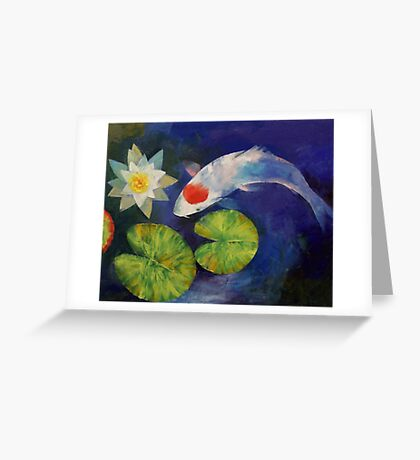 Tancho Koi and Water Lily Greeting Card