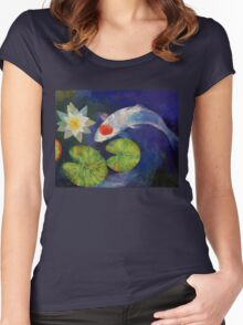 Tancho Koi and Water Lily Women's Fitted Scoop T-Shirt