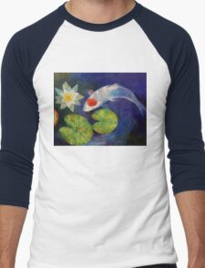 Tancho Koi and Water Lily Men's Baseball ¾ T-Shirt
