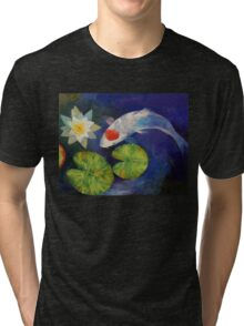 Tancho Koi and Water Lily Tri-blend T-Shirt