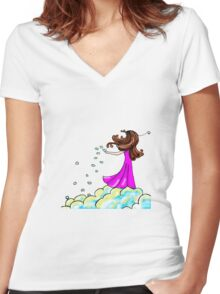 Cloud seeding Women's Fitted V-Neck T-Shirt