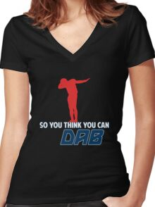 So you think you can Dab? Women's Fitted V-Neck T-Shirt