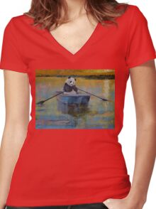 Panda Reflections Women's Fitted V-Neck T-Shirt