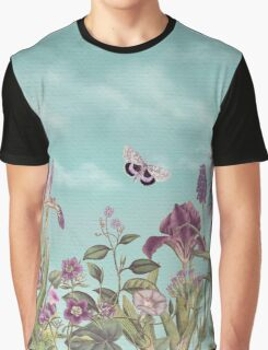 Mauve flowers on turquoise sky background Graphic T-Shirt