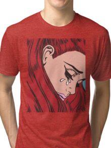 Red Head Crying Comic Girl Tri-blend T-Shirt