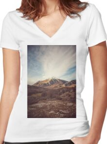 Mountains in the background XVII Women's Fitted V-Neck T-Shirt