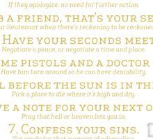 10 Duel Commandments Sticker