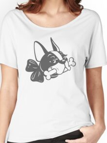 "French Bulldog ""Cherry"" B&W Women's Relaxed Fit T-Shirt"