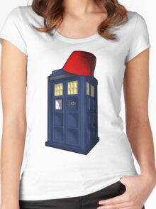 Tardis with a Fez Women's Fitted Scoop T-Shirt