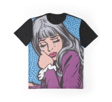 Silver Hair Crying Comic Girl Graphic T-Shirt