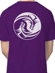 Yin Yang, Dragon, Doctormo, Dring, Drang, Eastern, WHITE on Deep Purple Classic T-Shirt