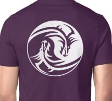 Yin Yang, Dragon, Doctormo, Dring, Drang, Eastern, WHITE on Deep Purple Unisex T-Shirt