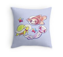 Space Sloth Turtle and Axolotl Throw Pillow