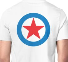 STAR, CIRCLE, SUPER STAR, Red Star, White Circle, Blue Outer Ring.  Unisex T-Shirt
