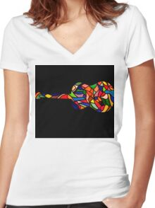 Vintage Coloured Classic Guitar Women's Fitted V-Neck T-Shirt