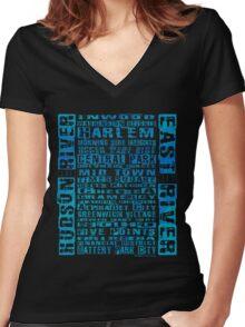 NYC Neighborhoods Blue Women's Fitted V-Neck T-Shirt