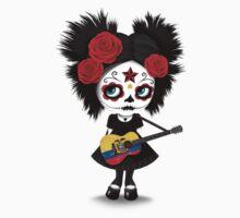 Sugar Skull Girl Playing Ecuadorian Flag Guitar Kids Tee