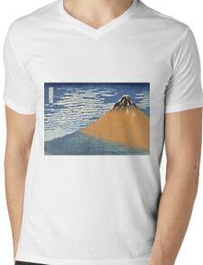Vintage famous art - Hokusai Katsushika - South Wind, Clear Dawn Mens V-Neck T-Shirt