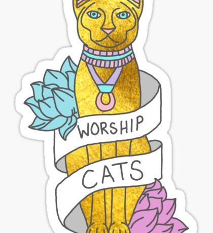 Cats Egypt Pyramid Gold Kitten Pets tabby tumblr gold typography kawaii meow print Sticker