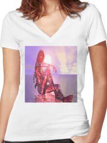 Setting Sun Women's Fitted V-Neck T-Shirt
