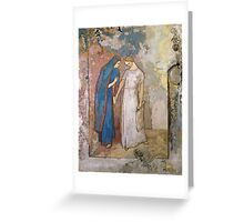 Vintage famous art - Odilon Redon - Initiation To Study - Two Young Ladies Greeting Card