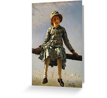 Vintage famous art - Ilya Repin - Dragonfly Painter S Daughter Portrait Greeting Card