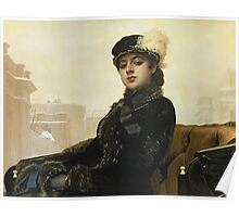Vintage famous art - Ivan Kramskoy - Portrait Of An Unknown Woman Poster