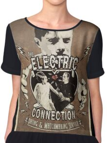 The Electric Connection (Old Postcard ) Chiffon Top