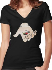 Pills are OK, STIGMA IS NOT! Women's Fitted V-Neck T-Shirt