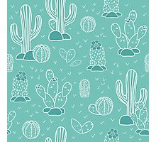 Pattern with cacti Photographic Print